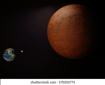 planets on black background, space, 3d rendering