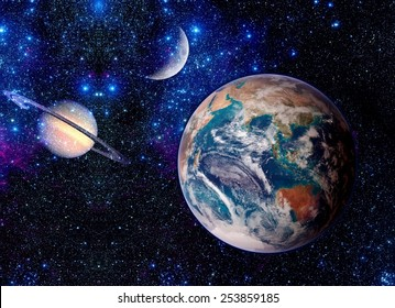 Planets outer astrology space stars Earth moon fantasy. Elements of this image furnished by NASA.