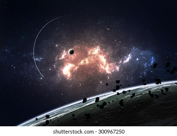 Planets over the nebulae in space. Elements of this image furnished by NASA