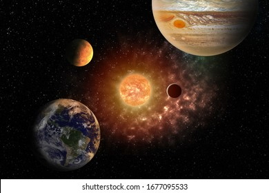 planets round the sun in the Solar system in the colorful starry universe Elements of this image furnished by NASA