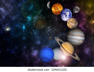 planets in the row Solar system in universe science fiction wallpaper, cosmic landscape Elements of this image furnished by NASA