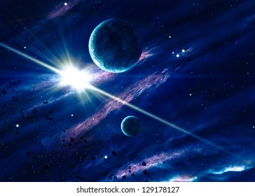 Planets with the shining star in space. Elements of this image furnished by NASA