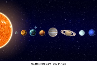 Planets of the Solar System - Elements of this Image Furnished by NASA