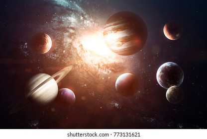 Planets of Solar system, Mars, Earth, Jupiter and others. Elements of this image furnished by NASA