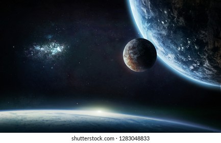Planets in the space collage. Earth. Our home. Elements of this image furnished by NASA