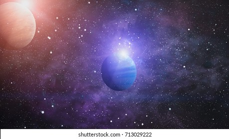 planets, stars and galaxies in outer space showing the beauty of space exploration. Elements furnished by NASA