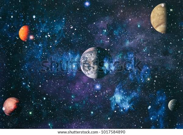 宇宙空間の惑星、星、銀河が、宇宙探査の美しさを示しています。NASAが提供するエレメント