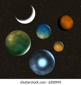 Planets and stars illustration