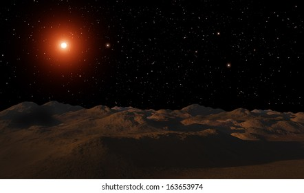 The planet's surface with bright star.