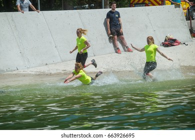 Planica, Slovenia, 06.17.2017: The contestants took part in the race OVIRATLON obstacle CHALLENGE Planica, Slovenia on 06.17.2017