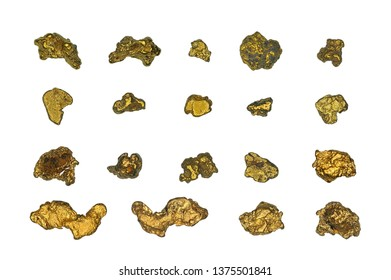 Plank of cut gold nuggets on a white background
