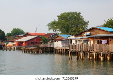 Plank houses built on stilts at the Clan Jetties, a UNESCO world heritage site,  in the morning,  Georgetown, Penang, Malaysia