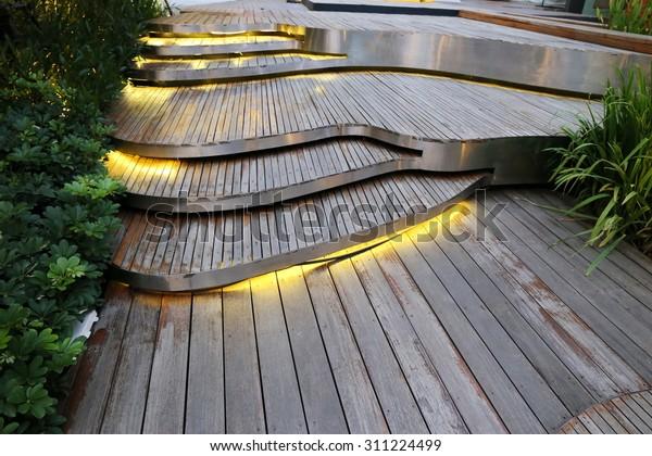 Plank Wood Stair Outdoor Flower Garden Stock Photo (Edit Now