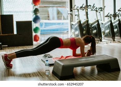 plank workout for abs. Women fitness weightloss group.