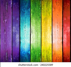 Planks in the colors of the rainbow. Colorful wood background.