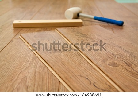 Planks Laminate Floor Tools Install Them Stock Photo Edit Now