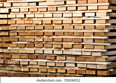 Planks in the sawmill close-up