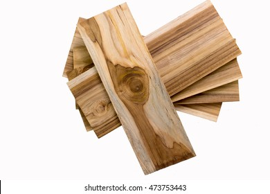 The planks are stacked on a white background.