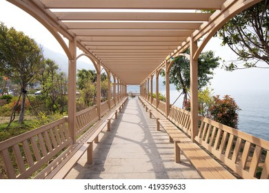 Planks way beside the sea