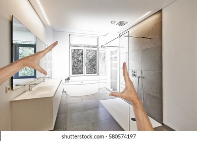 Planned renovation of a Luxury modern bathroom, Bathtub in corian, Faucet and shower in tiled bathroom with windows towards garden