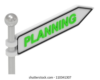 PLANNING arrow sign with letters on isolated white background