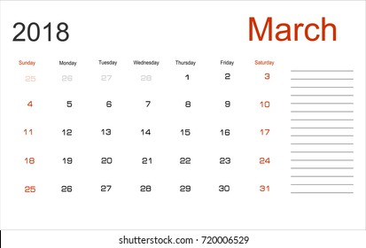 planning calendar march 2018 monthly scheduler week starts on sunday