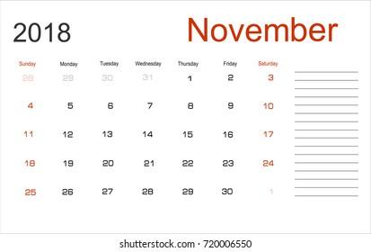 Planning calendar November 2018 Monthly scheduler. Week starts on Sunday.