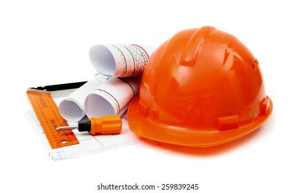 Planning of construction of the house. Drawings for building house, helmet and other working tools.