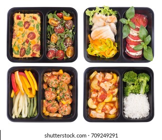 Planning a diet. Healthy take away meals in containers isolated on white background, top view
