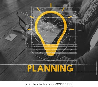Planning Retirement Plan Bulb Icon Sign