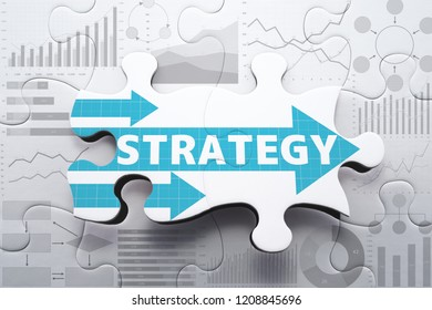 Planning strategy and analyzing marketing data for finding business solution.Assembling charts and graphs jigsaw puzzle.