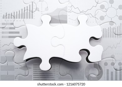 Planning strategy and analyzing marketing data for finding business solution.Assembling charts and graphs jigsaw puzzle. Puzzles pieces frame.