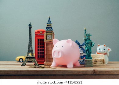 Planning summer vacation, money budget trip concept with piggy bank.