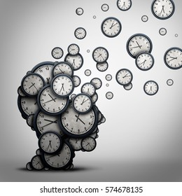 Planning time business concept or wasting minutes as a group of clocks shaped as a human head as a health symbol for psychology or scheduling pressure and dementia or aging as a 3D illustration.
