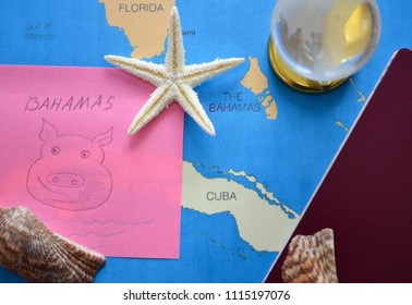Planning travel, vacation or holiday  concept with paper map of world,  passport, hell, sticky note