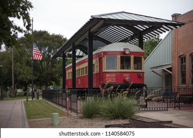 PLANO, TEXAS – OCTOBER 07, 2017: Interurban Railway Museum.  The building served as a primary stop on the Texas Electric Railway from Denison to Dallas beginning in 1908.