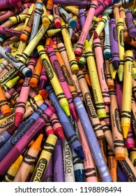 Plano, Texas/United States - March 29, 2018: Pile of Crayola crayons at Crayola Experience. These crayons are used to color pages at coloring stations.