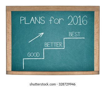 PLANS for 2016 GOOD BETTER BEST motivational quote written on a green chalkboard. Isolated on a white background.