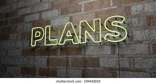 PLANS - Glowing Neon Sign on stonework wall - 3D rendered royalty free stock illustration.  Can be used for online banner ads and direct mailers.