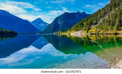 Plansee in Austria with reflection in the lake