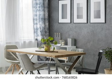Plant and apple on wooden table with chairs in cozy dining room with paintings on grey wall above cupboard