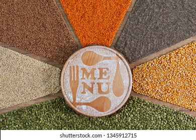 Plant based diet choices - the colorful menu of diverse grains and seeds in radial arrangement. Staple food variety.
