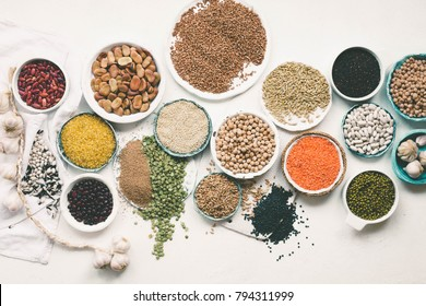 Plant based diet ingredients vegetarian vegan dieting winter spring food collection  drid goods overhead copy space