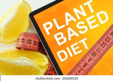 plant based diet on tablet.