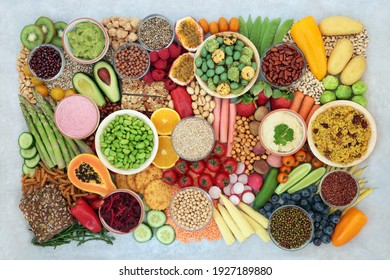 Plant based vegan food for a healthy lifestyle with vegetables, fruit, cereals, grains, nuts, seeds, legumes and dips. High in protein, antioxidants, vitamins, fibre and smart carbs. Ethical eating.