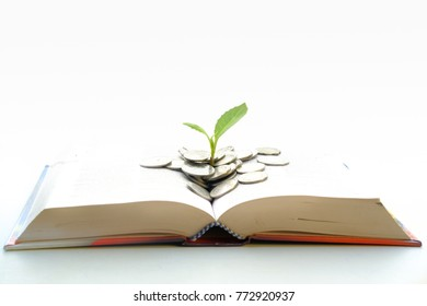 Plant Growing with Coins on books isolated with white. Investment Banking idea