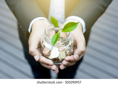 Plant growing from money (coins) in the glass jar held by a businessman - business and financial metaphor
