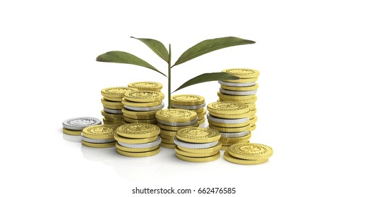Plant growing on golden and silver coins - white background. 3d illustration