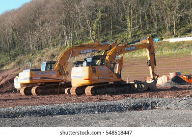Plant machinery on a building site near Pendine, Carmarthenshire, Wales, UK in January 2017.
