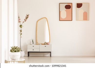 Plant on table and mirror on white cabinet in simple living room interior with posters. Real photo. Place for your furniture